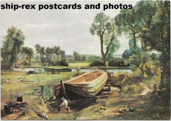 Boat Building Near Flatford Mill (Constable) postcard